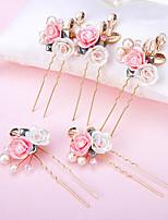 結婚式 / パーティー 成人用 / フラワーガール ラインストーン / 合金 / 人造真珠 / 樹脂 かぶと ヘアピン 2個