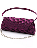 Women Satin Minaudiere Clutch / Evening Bag / Wristlet-White / Purple / Gold / Red / Black / Almond