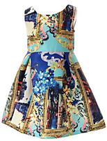 Vestido Chica de-Verano / Primavera-Algodón-Azul
