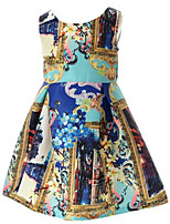 Girl's Blue Dress,Floral Cotton Summer / Spring