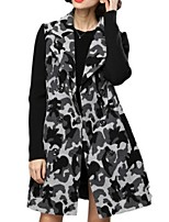 Women's Print Black Pea Coats,Plus Size Long Sleeve Polyester