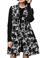 Women's Print Black Pea Coats,Plus Size Long Sleeve Polyester