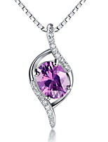 Mix Colors Silver Plated Amethyst Feather Pendant Zircon Necklace Link Chain Women Crystal Jewelry Accessories