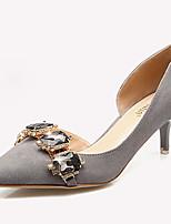 Zapatos de mujer-Tacón Stiletto-Tacones-Tacones-Casual-Vellón-Negro / Gris