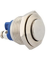 16mm 12V Momentary Push Button Metal Switch for Car Silver