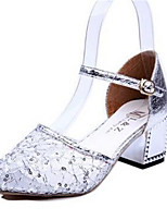 Women's Shoes Lace Chunky Heel Heels Heels Party & Evening / Dress Silver / Gold