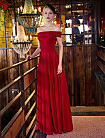 Formal Evening Dress Sheath/Column Off-the-shoulder Floor-length Satin / Stretch Satin