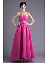 Formal Evening Dress A-line Sweetheart Ankle-length Organza with Beading / Sash / Ribbon / Side Draping