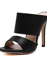 Women's Shoes Cashmere Stiletto Heel Heels / Open Toe Sandals Outdoor / Casual Black / White
