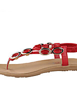 Women's Shoes PU Flat Heel Open Toe Sandals Outdoor / Dress / Casual Black / Red / White