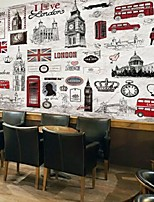 Retro Shinny Leather Effect Large Mural Wallpaper London Hand-painted Art Wall Decor Background Wall Paper