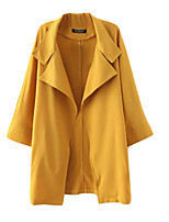 Women's Solid Red / Beige / Yellow Trench Coat,Simple Long Sleeve Cotton