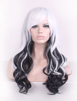 Women Long Deep Wave Synthetic Hair Wig Black Mix White