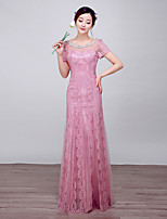 Formal Evening Dress-Blushing Pink Ball Gown Scoop Floor-length Lace / Satin / Tulle