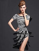Latin Dance Dresses Women's Performance Milk Fiber Tassel(s) 1 Piece Tiger Stripes / Leopard Print / Zebra Latin Dance