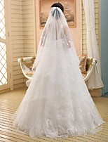 Wedding Veil One-tier Chapel Veils Pencil Edge Lace White White