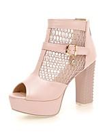 Calçados Femininos-Saltos-Saltos / Peep Toe-Salto Grosso-Azul / Rosa / Branco-Courino-Social / Casual