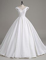 Lanting Bride A-line Wedding Dress-Court Train V-neck Satin