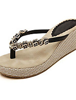 Women's Shoes PU Wedge Heel Flip Flops Flip-Flops Outdoor / Casual Black / Almond