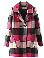 Women's Plaid Pink Coat,Street chic Long Sleeve Polyester