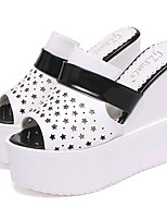 Women's Shoes Leatherette Summer Wedges / Heels Outdoor / Casual Wedge Heel Black / Silver