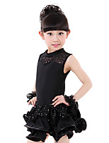 Latin Dance Dresses Kid's Training Spandex Crystals/Rhinestones 2 Pieces Sleeveless Dress Headpieces