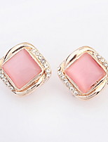 Hot Fashion Women Fine Jewelry Super Beautiful Square Pink White Opal Stone Alloy Pierced Rhinestone Stud Earrings