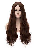 Long Length Brown Color Natural Wavy Hair European Weave Synthetic Wig