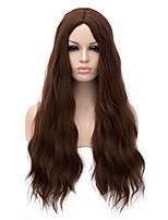 grande longueur couleur brune cheveux onduleux naturel tissu européen perruque synthétique