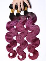 1b / viola # capelli ombre onda del corpo brasiliana 3 fasci di grado 7a vergini trame tessuto dei capelli umani