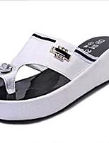 Chaussures Femme-Extérieure / Habillé / Décontracté-Noir / Blanc-Plateforme-Chaussons-Sandales / Chaussons-PU
