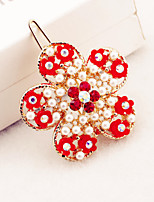 Plum red pearl inlay diamond hollow alloy hairpin