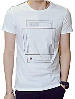 2016 new summer coat young men fashion printing geometric men's short sleeve T-shirt slim casual tide