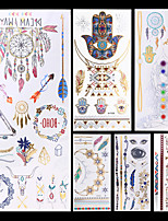 6pcs Silver Gold Evil Eye Feather Totem Necklace Bracelet Colorful Temporary Flash Metallic Tattoos Sticker Waterproof
