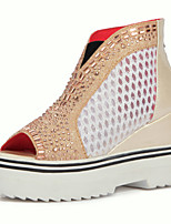 Women's Shoes Platform Peep Toe / Fashion Boots Boots Dress / Casual Black / Pink / Red / Silver / Gold