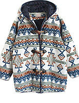 Women's Casual/Daily Simple Coat,Print Long Sleeve Blue Polyester