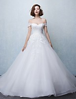 Ball Gown Wedding Dress-Chapel Train Off-the-shoulder Tulle