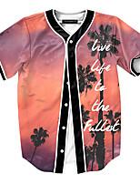 Print-Informeel / Werk / Formeel / Sport-Heren-Polyester-T-shirt-Korte mouw Zwart