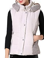 Women's Patchwork Blue / Beige Padded Coat,Simple Hooded Sleeveless