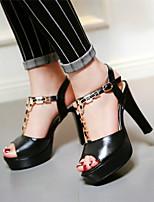 Chaussures Femme-Habillé / Décontracté / Soirée & Evénement-Noir / Bleu / Rose / Blanc-Gros Talon-Bout Ouvert / A Plateau-Sandales-