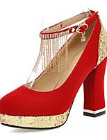 Zapatos de mujer-Tacón Robusto-Tacones-Tacones-Boda / Oficina y Trabajo / Fiesta y Noche-Semicuero-Negro / Azul / Rojo
