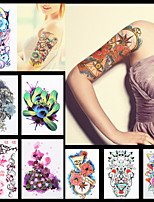 8PCS Dreamcatcher Flower Sleeve Back Shoulder Tattoo Temporary Kylin Chinese Dragon Women Body Art Tattoo Sticker Paper