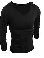 T-shirt Uomo Casual Tinta unita Manica lunga Cotone
