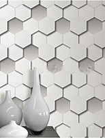 HaokHome® Modern Geometric Diamond Wallpaper Rolls Grey Leather Vinyl Textured Wall Paper Realistic Home Decoration