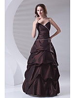 Formal Evening Dress-Brown A-line Spaghetti Straps Floor-length Taffeta