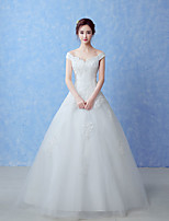 A-line Wedding Dress-Floor-length Off-the-shoulder Tulle
