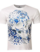 Men's Print Casual T-Shirt,Polyester Short Sleeve-White