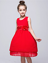 Girl's Casual/Daily Floral Dress,Polyester Summer Blue / Orange / Pink / Purple / Red