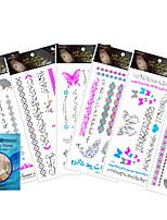 6 Pcs New Temporary Silver Metallic Fluorescent Tattoo Paste Stickers
