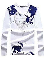 Men's Print / Letter Casual / Plus Sizes T-Shirt,Cotton Long Sleeve-Black / Blue / White